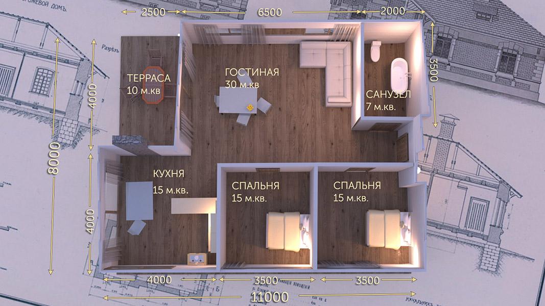 План первого этажа - проект Скандик