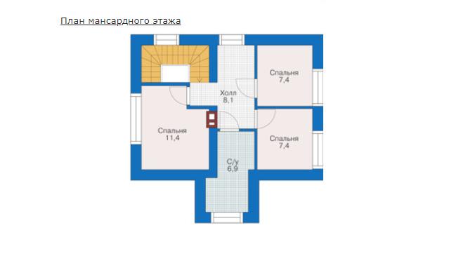 План второго этажа - проект Рединг