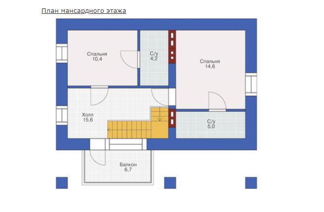 План второго этажа - проект Гент