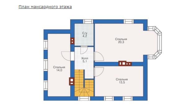 План второго этажа - проект Сансет