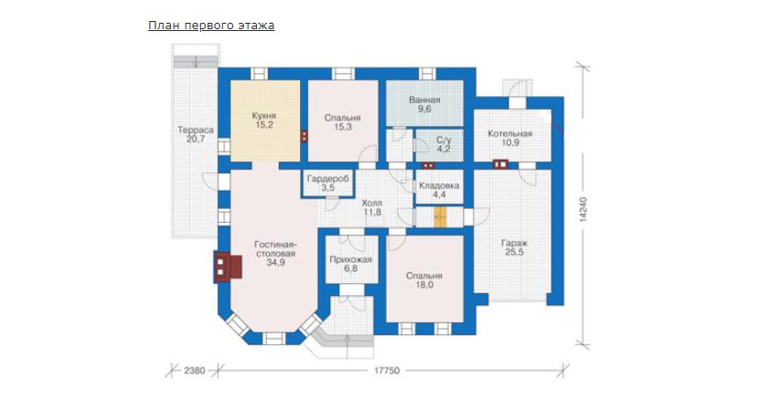 План первого этажа - проект Линц