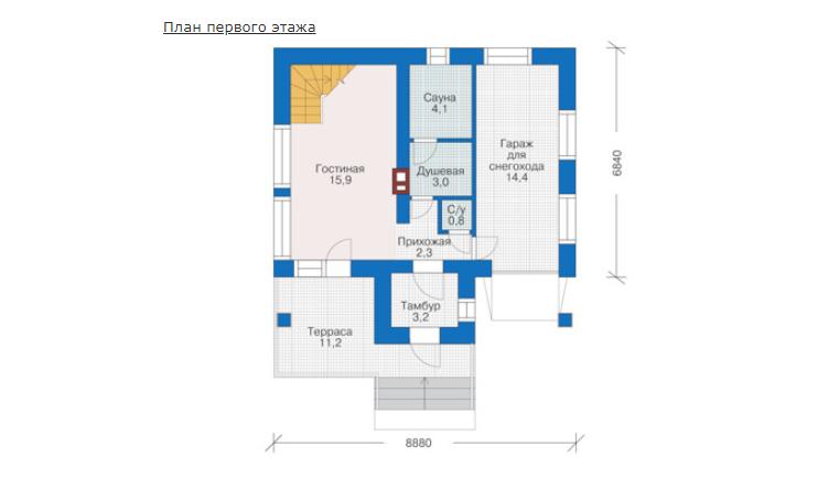 План первого этажа - проект Рединг