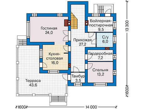 План первого этажа - проект Лестер