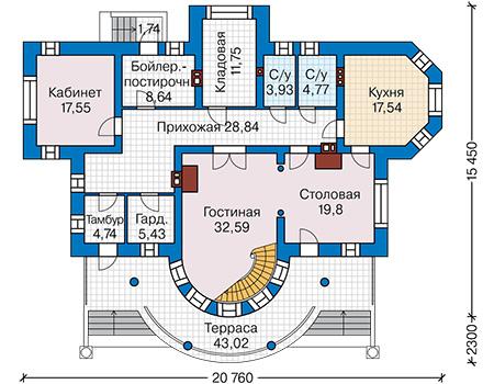 План первого этажа - проект Бристоль