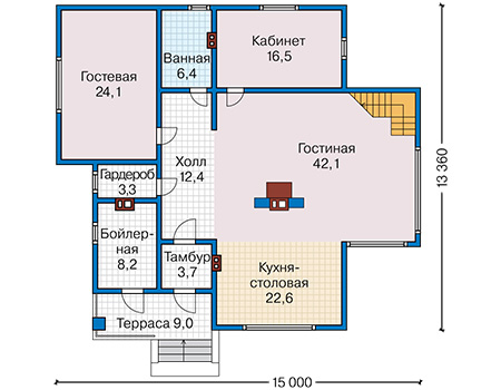 План первого этажа - проект Девон