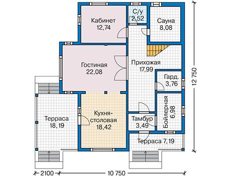 План первого этажа - проект Тулон
