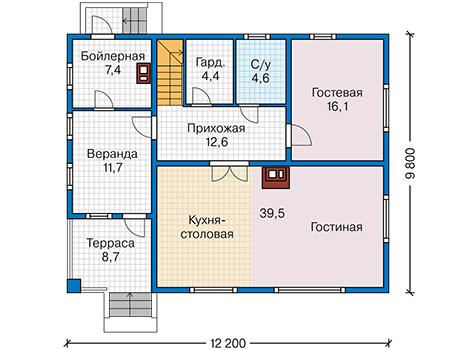 План первого этажа - проект Дром