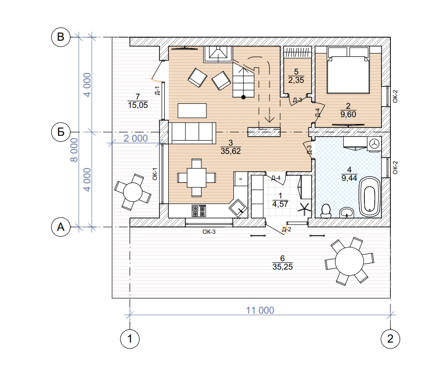План первого этажа - проект Алавус
