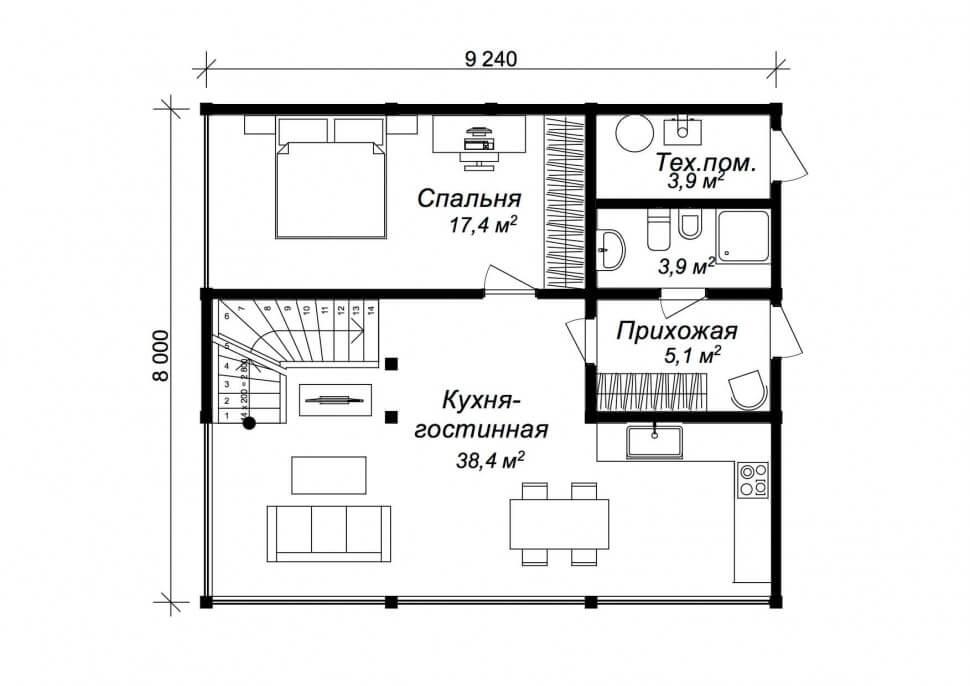 План первого этажа - проект Фюрт