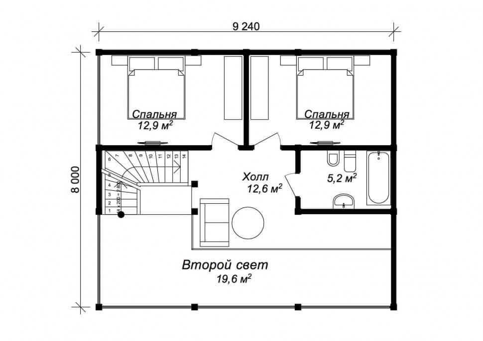 План второго этажа - проект Фюрт