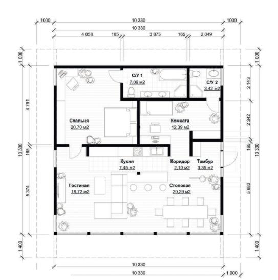 План первого этажа - проект Бюдинген