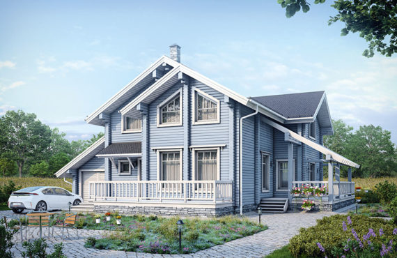 Двухэтажные дома из клееного бруса
